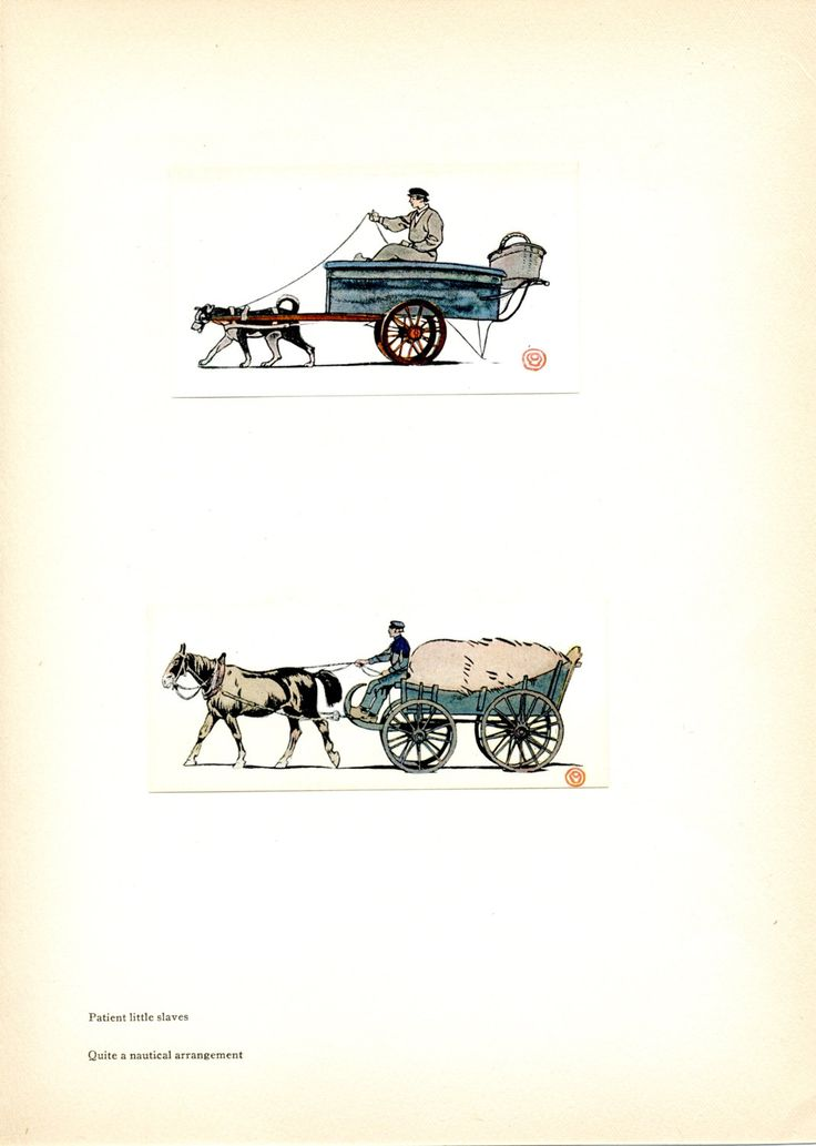 Horse-Drawn Wagon. Dog-Drawn Wagon. Tipped Book Plate. Edward Penfield. Holland. 1907 by DustCoverPaperati on Etsy