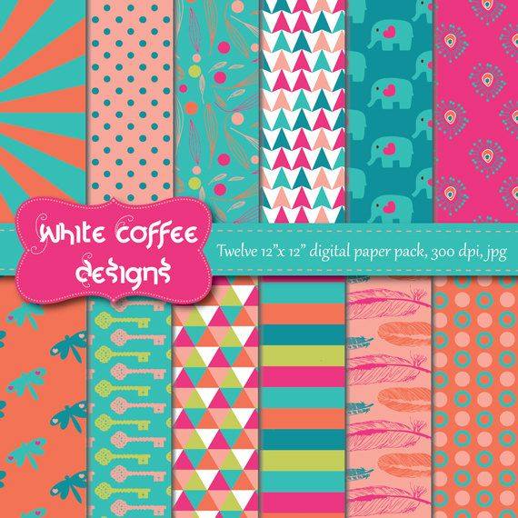 $4 ea. Digital Paper Pack, Scrapbook paper, Feathers, Flowers, Elephant in Turquoise, Coral, Hot pink, Green paper, digital download