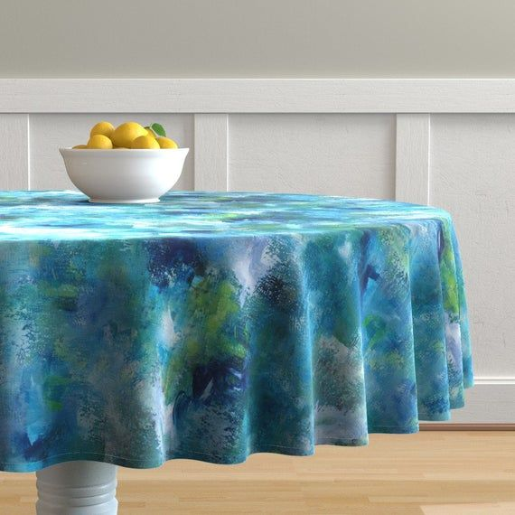 Ocean Blue Round Tablecloth Blue Abstract By Jenflorentine
