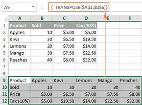 Using an array function in Excel