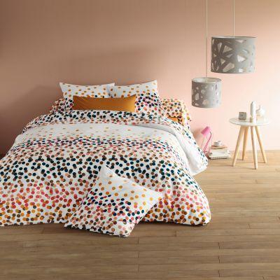 #chambre #lit #drap #housse #couette #motifs #petits #pois #orange #rouge #noir #blanc