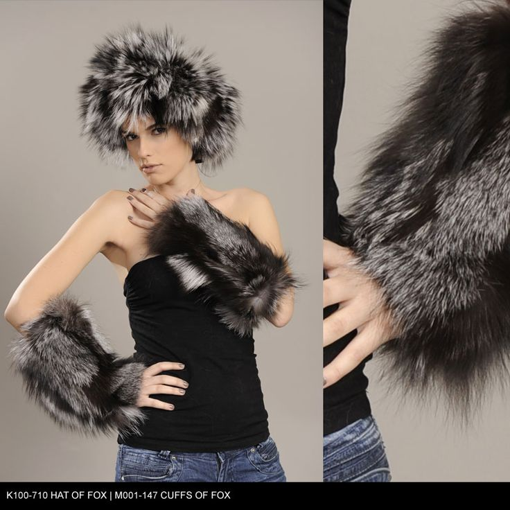 Hat and Cuffs of Fox fur. Available for wholesale orders.