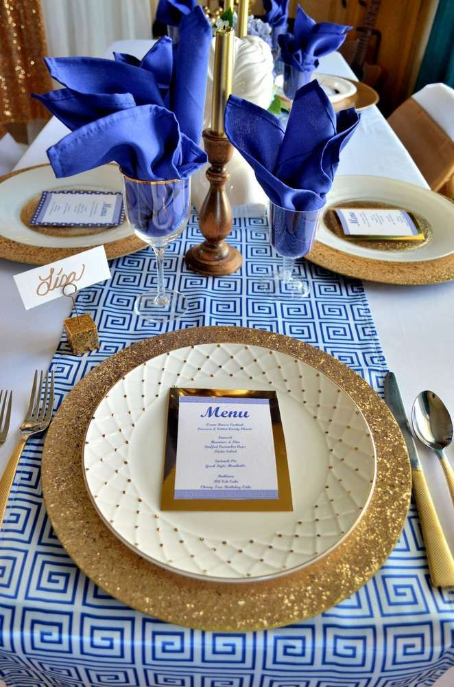 Pretty place settings at a My Big Fat Greek Wedding birthday party! See more party planning ideas at CatchMyParty.com!