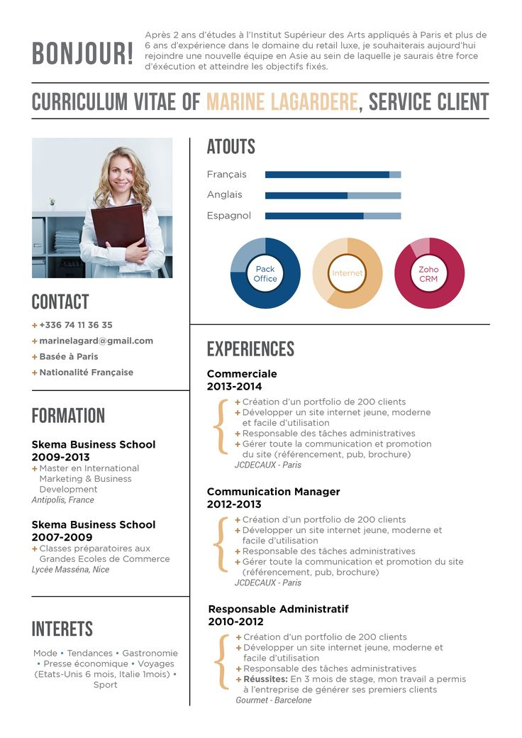 template cv sans photo format ppt gratuit