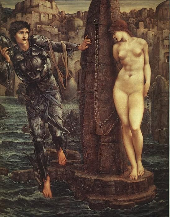 The Rock of Doom by Sir Edward Burne-Jones   This picture shows Perseus, having killed Medusa and holding her head in his hand, encountering Andromeda outside the town of Joppa, where she is chained to a rock. She is to be sacrificed to a sea monster in order to pacify the gods, whom her mother, Cassiopeia, offended.