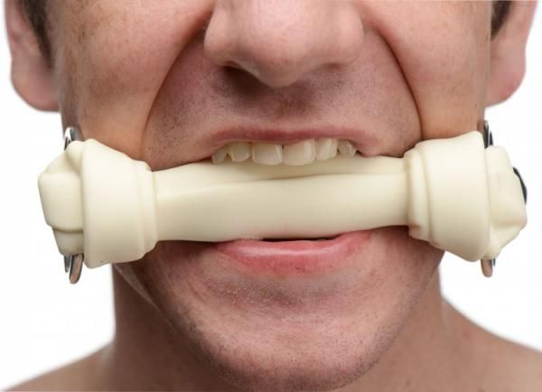 Silicone Dog Bone Gag White on 2 B Intimate
