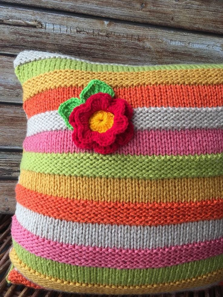 Cushion Hand Knitted In Vintage Colours Stripes With Flower Stunning UniqueGift  | eBay