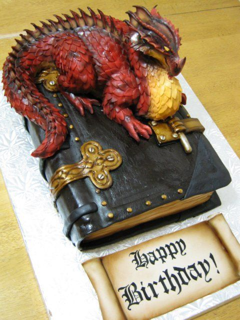 Dragon on a Book cake 3.0 - RKT & fondant dragon on top of a cake book.