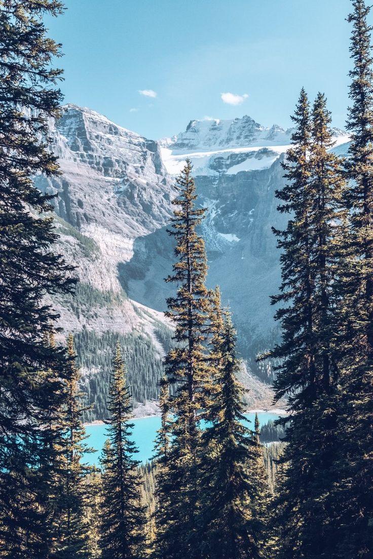 Moraine Lake in Banff National Parc, Alberta, Canada. Stunning view, blue sky, and even more blue lake #treeswithaview #jolievue #ExploreCanada #ExploreAlberta #mountains #montagnes