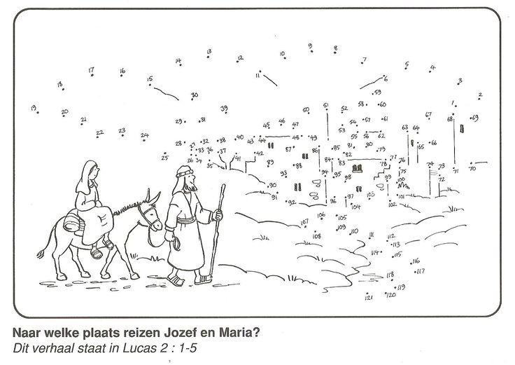 Joseph and Mary to travel from Nazareth to Bethlehem from dot to dot