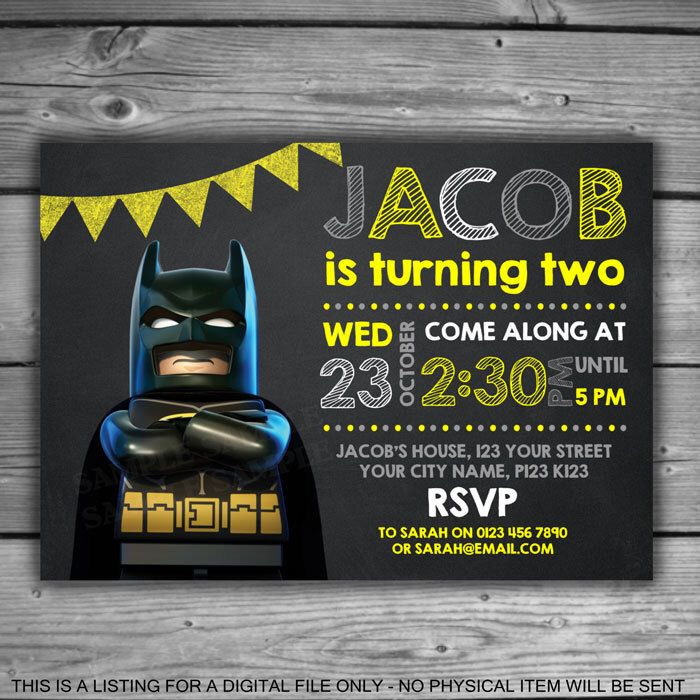 Lego Batman Chalkboard Invitation - PRINTABLE - Digital File - Kids Birthday Boys Party Supplies Yellow Grey Bat Man Invite Chalk - V027 by LeosPrintables on Etsy https://www.etsy.com/listing/508633669/lego-batman-chalkboard-invitation