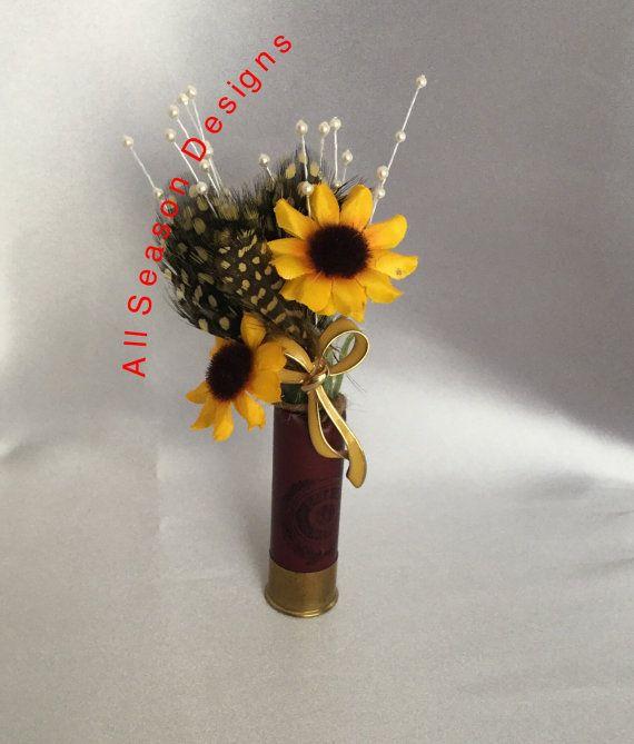 Shotgun shell boutonnière sunflower by AllSeasonDesigns on Etsy