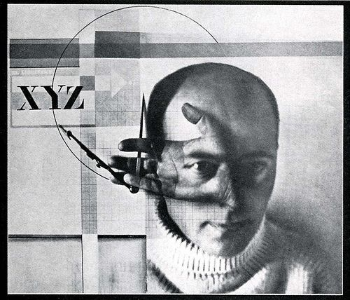 Self portrait, El Lissitzky, 1923. Double exposure combined with photogram.