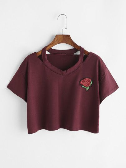 Borgogna strappato collo della Rosa con ricamo Toppa Crop T-shirt