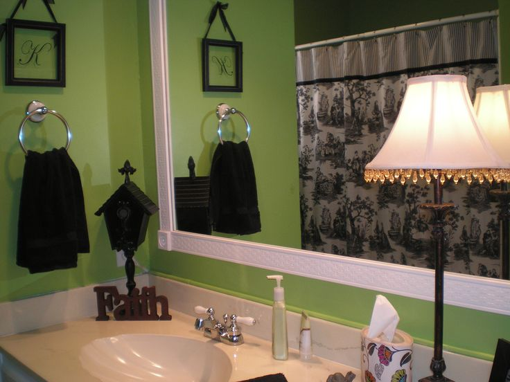 my lime green bathroom with black white and red accents
