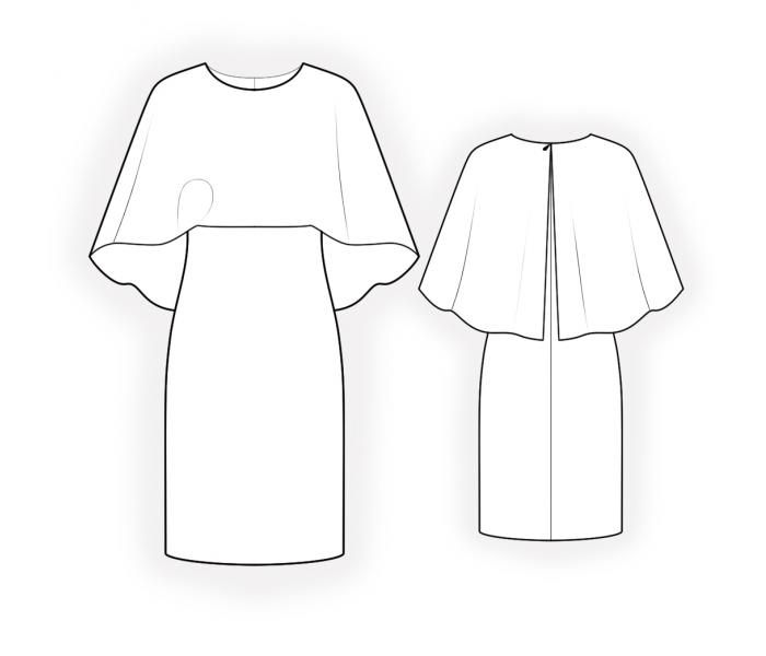 Dress With Cape - Sewing Pattern #4631 Made-to-measure sewing pattern from Lekala with free online download. Fitted, Darts, Zipper closure, Round neck, Knee length, Straight skirt