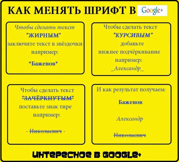 """"""" КАК МЕНЯТЬ ШРИФТ В GOOGLE+ """"  Полезная информация для пользователей социальной сети google+  Те кто активно пользуется данной социальной сетью, наверняка ни раз задавались вопросом: """"А как же можно поменять шрифт, сделать его оригинальным, не таким, как у всех?""""  В принципе всё просто и это показано в таблице. Конечно выбор не большой и всё же я думаю это информация будет полезна многим."""