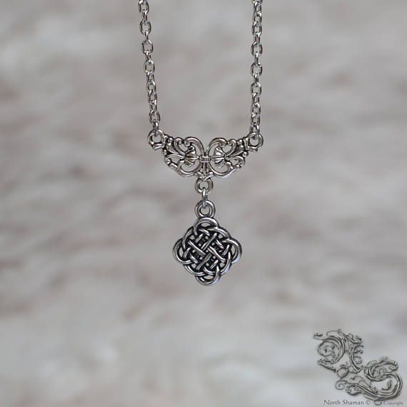 Necklace The Celtic Worker - medieval celtic viking elven pagan fairy fantasy interlacing interlaced square symbol silver pendant - North Shaman