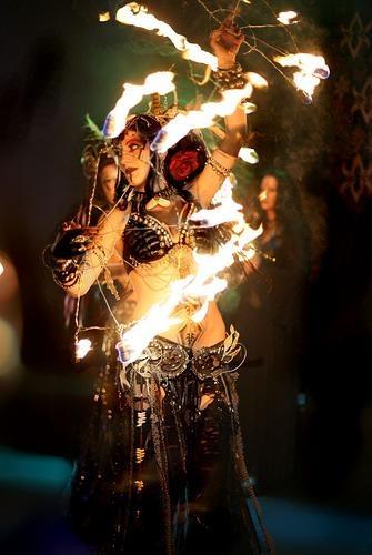 fire dancing- fire fans