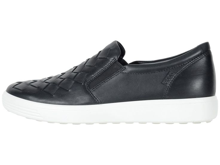 ECCO Soft 7 Woven Slip-On Women's Slip on Shoes Black Cow Leather/Cow Nubuck