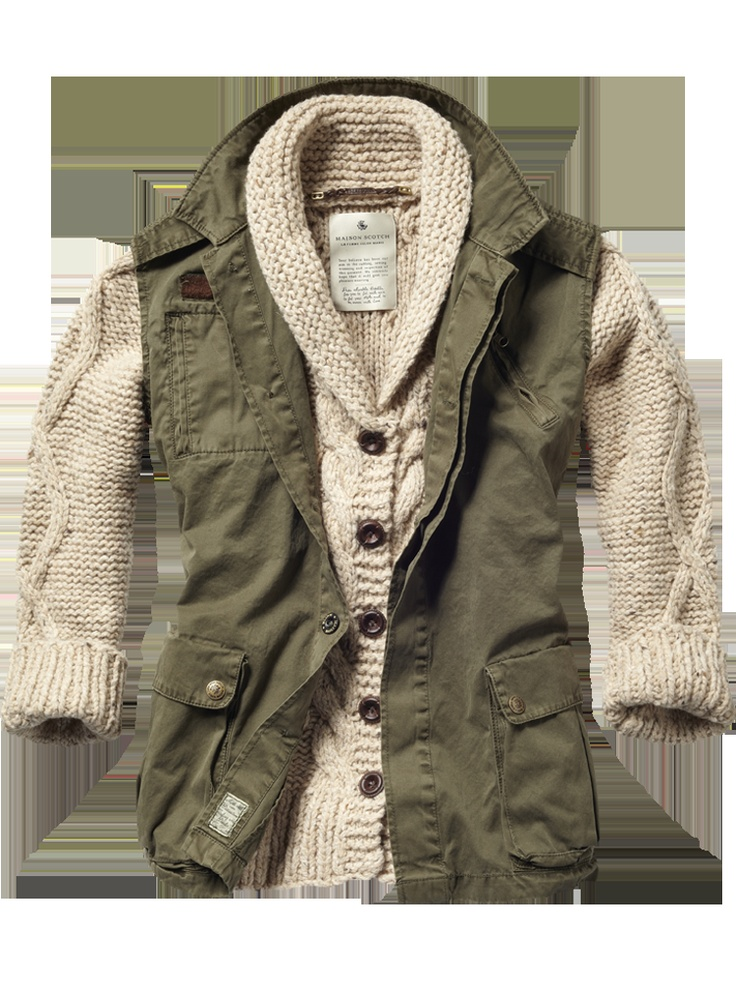 Sleeveless military jacket with cable knitted cardigan ...