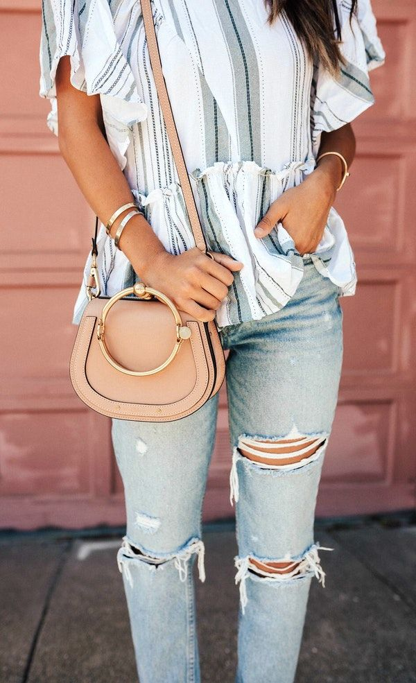 #summer #outfits Striped Top Destroyed Bleached Jeans