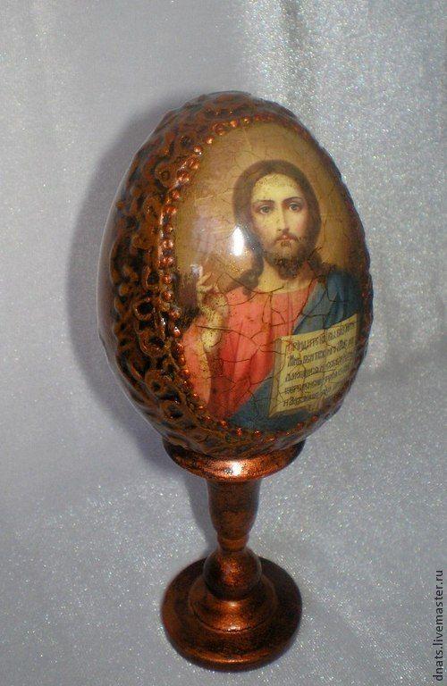 """Деревянное яйцо """"Спаситель"""" - коричневый,пасхальное яйцо,пасхальное яйцо декупаж"""