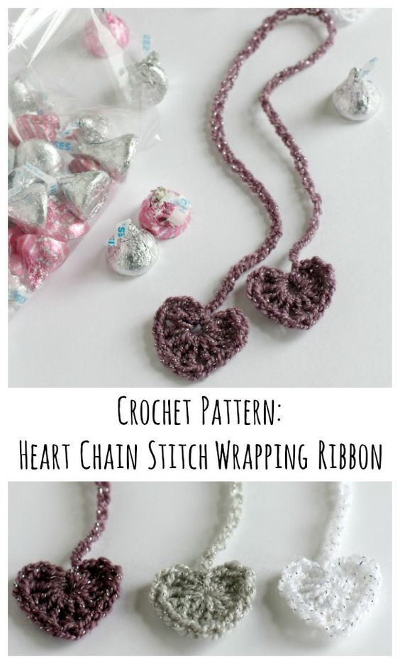 Crochet Pattern for Heart Chain Stitch Wrapping Ribbon