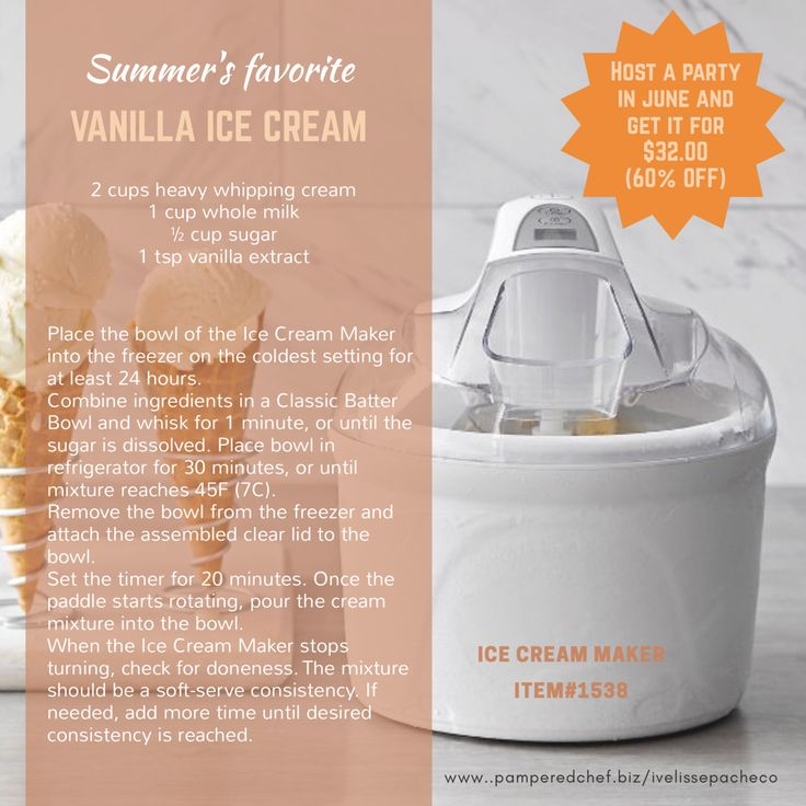 Homemade vanilla ice cream with new Pampered Chef Ice Cream Maker. Book your virtual or catalog party in June and get it for only $32.00 Foe more recipes ideas follow me: Facebook.com/iveskitchen