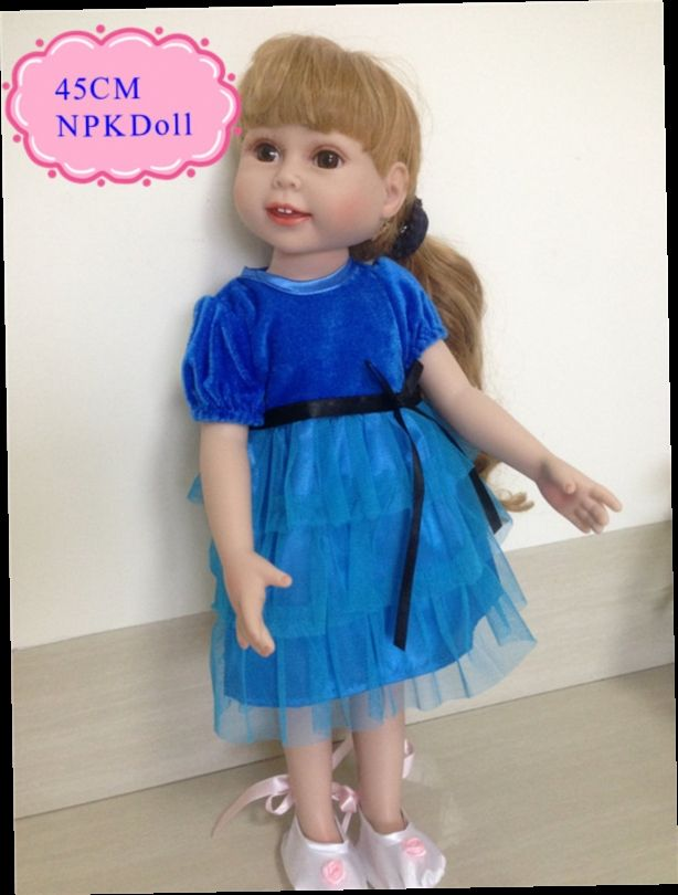 45.00$  Watch here - http://aliptt.worldwells.pw/go.php?t=32729550311 - China Wholesale 45cm 18'' Brown Long  Hair Full Silicone Vinyl American Girl Doll Best Hot Sell Brinquedos Para Bebe At Birthday
