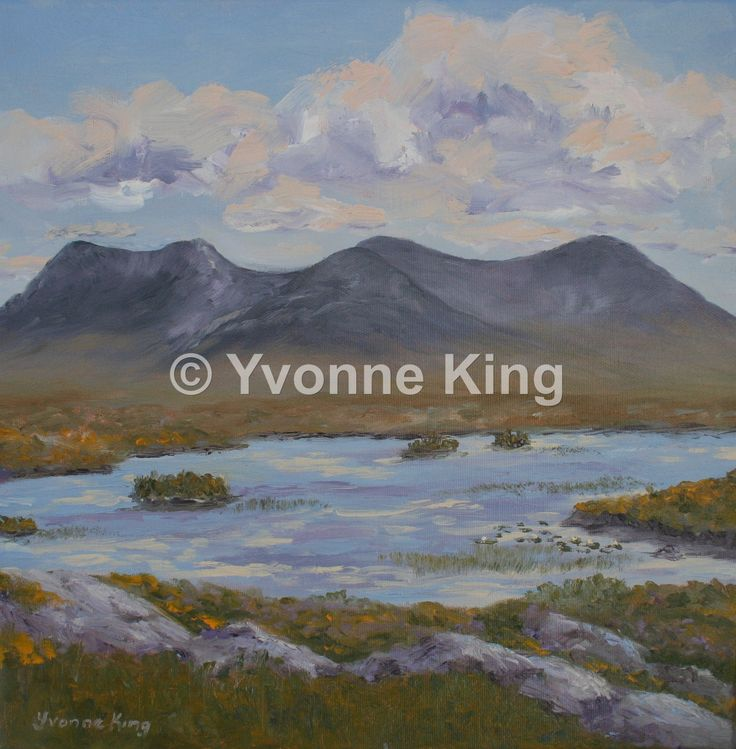 "LAND04-2014-Yvonne-King-""Loch agus Portach, na Beanna Beola""-""Lake and Bog, the Twelve Bens""-16""x16"" The bog road is a haven of lakes and mountains and wildflowers. A place to contemplate and enjoy the quiet."
