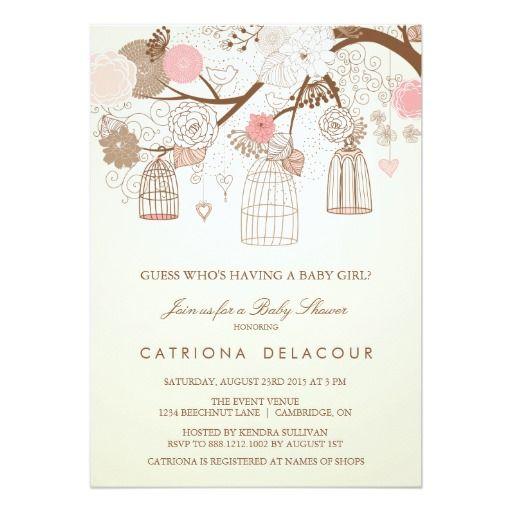 Vintage Birdcages Floral Baby Shower Invitation