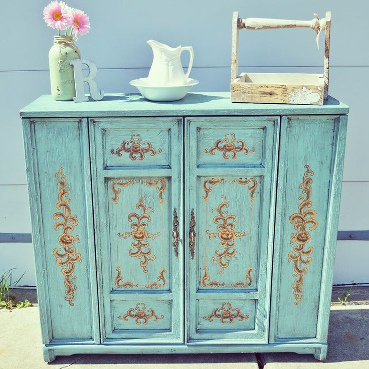 chalk painted cabinet with gold accents   Redo furniture ...