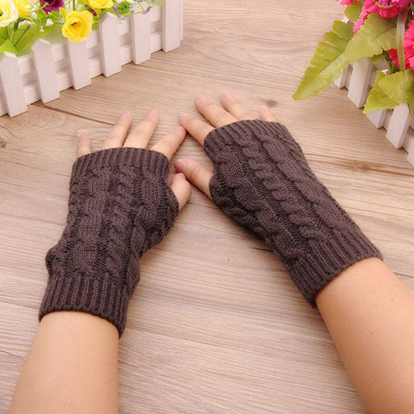 Women Stylish Hand Warmer Winter Gloves Arm Crochet Knitting Warm Fingerless Gloves  #women #fashion #accessories