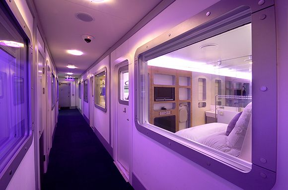 """Nap Rooms at Heathrow Airport. Unless you're excellent at sleeping upright, you're usually out of luck. But at London Heathrow, a nap means never having to settle for a stiff neck. Located before the security checkpoint in Terminal 4, Yotel offers """"cabins"""" complete with en suite bathrooms & comfy beds from £25 (about $40) for 4 hrs. of sleep. Past-security in Terminal 3, you'll find twin & single suite napping rooms with showers."""