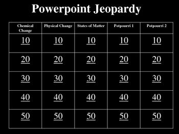 chemical and physical change jeopardy powerpoint review game physical change. Black Bedroom Furniture Sets. Home Design Ideas