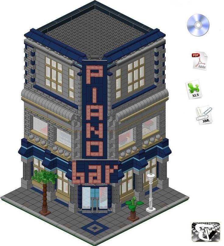 Lego®  ISTRUZIONI / INSTRUCTIONS - Piano Bar - (Custom Modular Building) | Giocattoli e modellismo, Costruzioni, Lego | eBay!