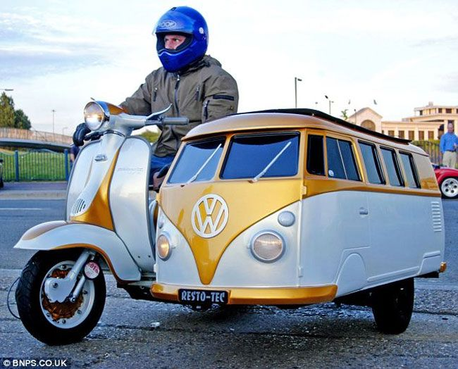 This unique VW camper sidecar has been created by Jay Dyer for his eleven year old son to ride in while out on adventures. Dyer bought the skin in Belgium and then spent another seven months constructing the VW camper sidecar, welding and painting the custom sidecar in his garden.