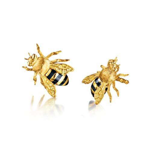 Verdura Honeybee Earstuds Enamel and gold.