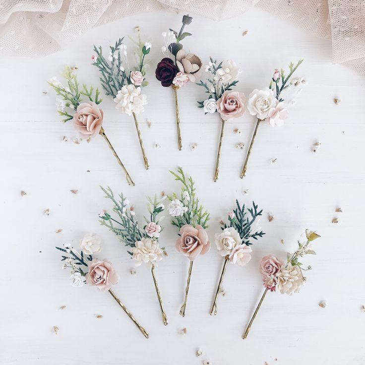 Blush Flower Haarnadeln, Set von 10 Haarnadeln, Braut Haarspange -  #blush #braut #flower #ha...