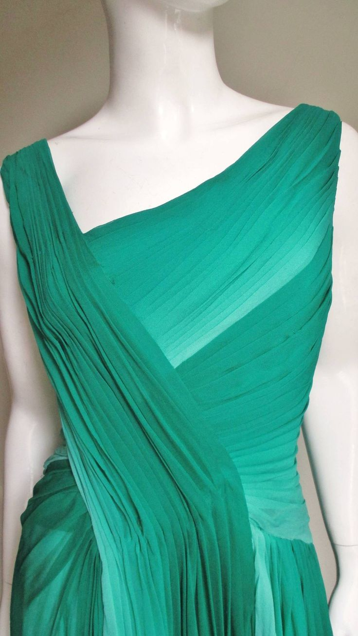 Monique Lhuillier Emerald Silk Ombre Gown With Train | From a collection of rare vintage evening dresses at https://www.1stdibs.com/fashion/clothing/evening-dresses/