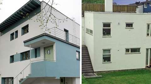 FUNKER, FUNKER IKKE?: Huset til venstre er klassisk funksjonalisme fra 1930-tallet, mens det til høyre ikke er funkis. Det er bygget i 2009, men har tilsynelatende hentet inspirasjon fra funskjonalismens bruk av rette linjer og buer. I en boligannonse som annonserer huset til salgs brukes begrepet funkis i tittelen.