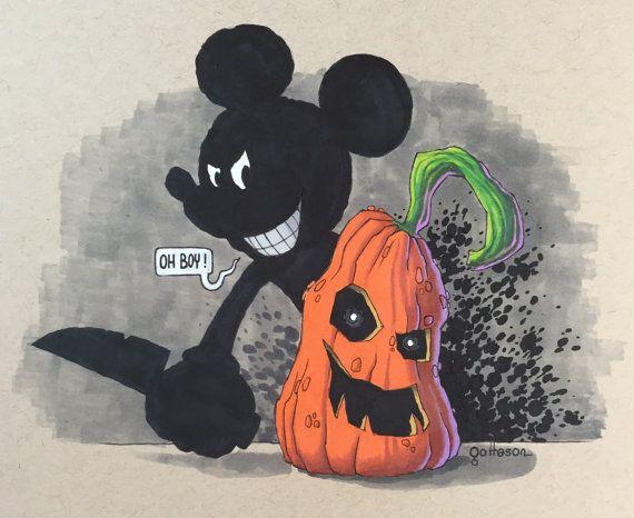 """Pumpkin Carver Mickey"" #Halloween #HalloweenArt #DisneyHalloween #Disney #Disneyland #DisneyWorld #WDW #TwistedDisney #Twisted #Lowbrow #LowbrowArt #CreepyArt #Pumpkin #PumpkinCarving #Jackolantern #Pumpkin #Pumpkins"