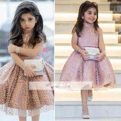 Rosa 2019 vestidos de niña de las flores para bodas vestido de baile Hig Collar tul perlas vestidos de primera comunión para niñas pequeñas