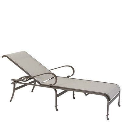 Tropitone Torino Reclining Chaise Lounge Finish: Parchment, Fabric: Sparkling Water
