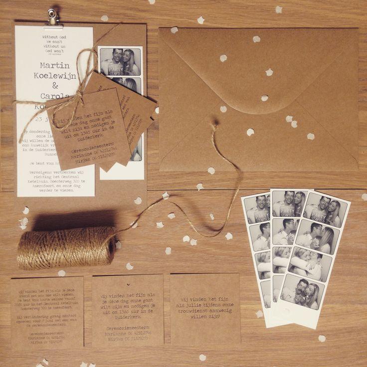 wedding invitation trouwkaart kraft