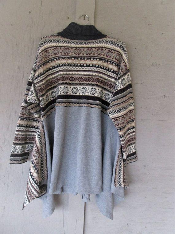 upcycled sweater tunic Bohemian clothing от lillienoradrygoods