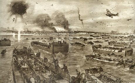 """This drawing shows the flotilla of landing craft approaching Dieppe's beach while the RAF and RCAF take on the Luftwaffe. The Germans lost 46 planes to the Allies 106, including 13 Canadian fighters. This was, according to the Canadian War Museum, """"the most intense air battle on a single day in the whole war."""" (London Illustrated News)"""