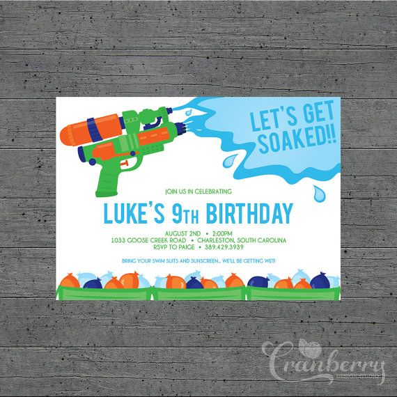 Boys Water Party  Printed Invitations by cranberrydesign on Etsy