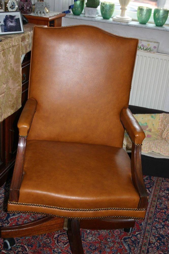 Chesterfield Sessel Schreibtisch Büro Dreh Stuhl Nieten Uleder